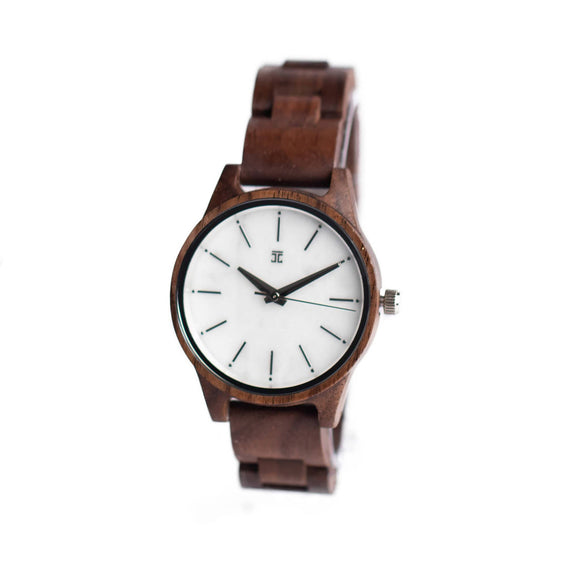 Women's Walnut Wooden Watch with Marble Face | Casso