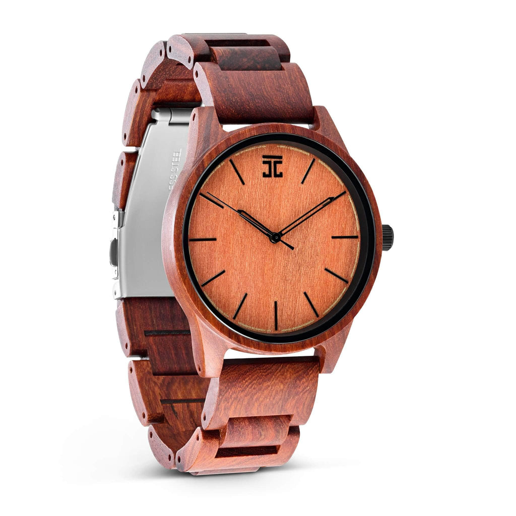 Red Sandalwood Wooden Watch, Northstar Collection, Front View