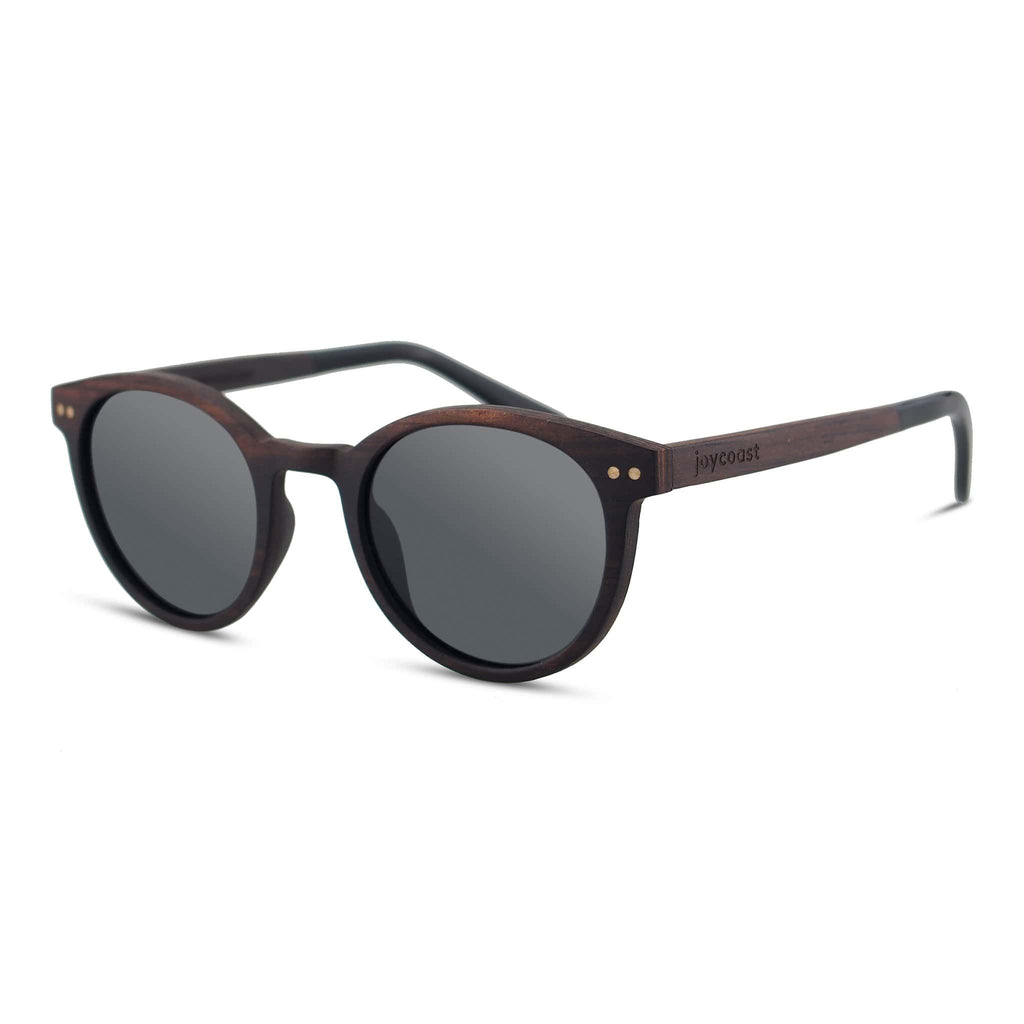 Sleek Dark Ebony Sunglasses. Round shape. These fit best on a smaller face frame.