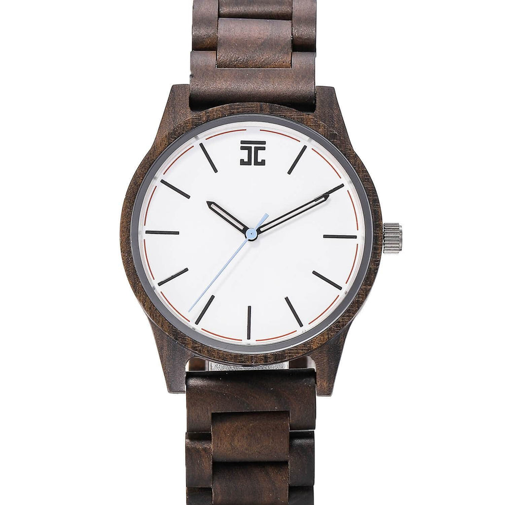 Dark Sandalwood // White Face (Wood Band) - Wooden Watches and Sunglasses - Joycoast
