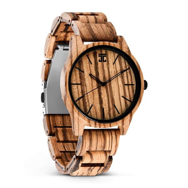Wooden watch handcrafted from zebrawood, front view, northstar collection by joycoast.
