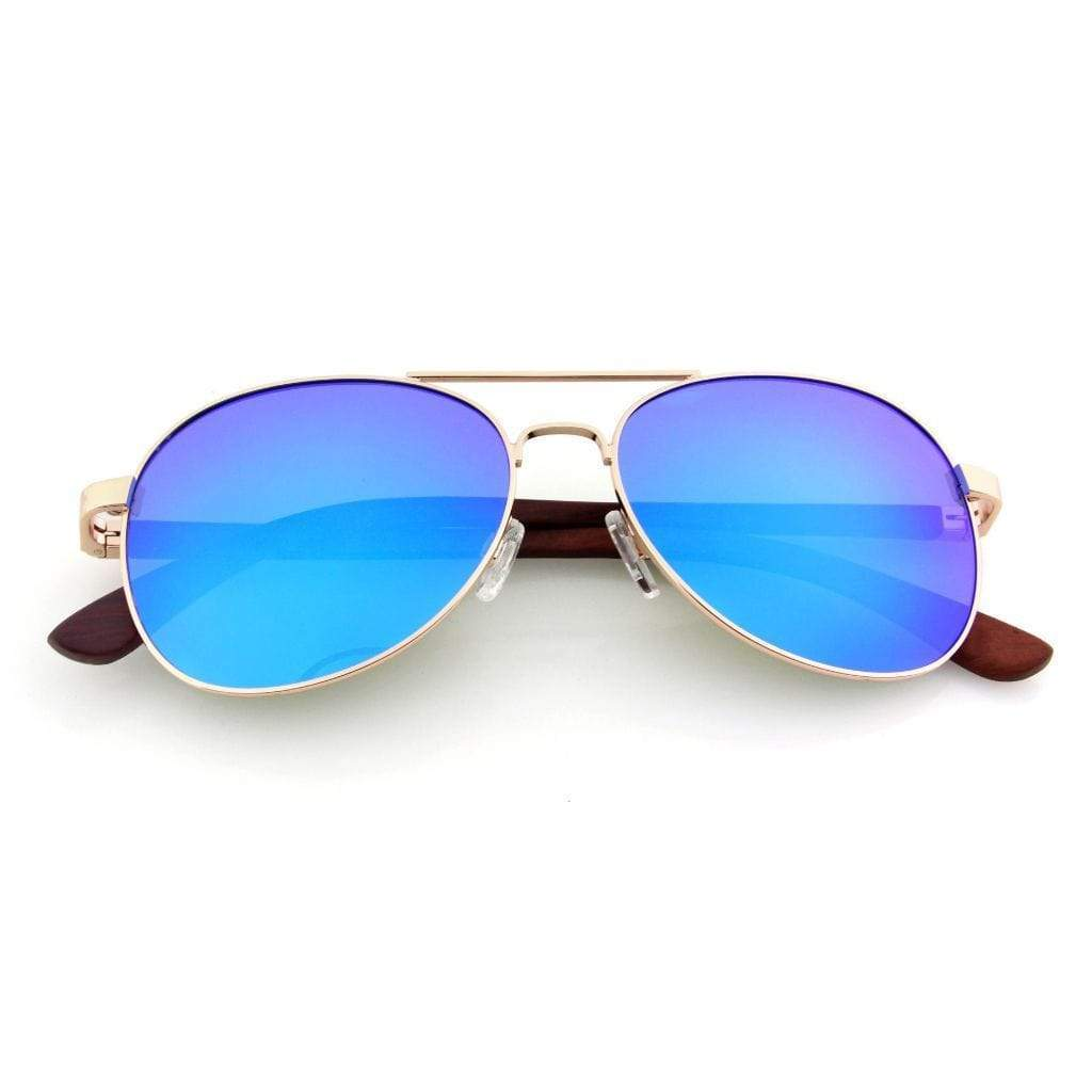 Aviator // Blue Lenses - Wooden Watches and Sunglasses - Joycoast