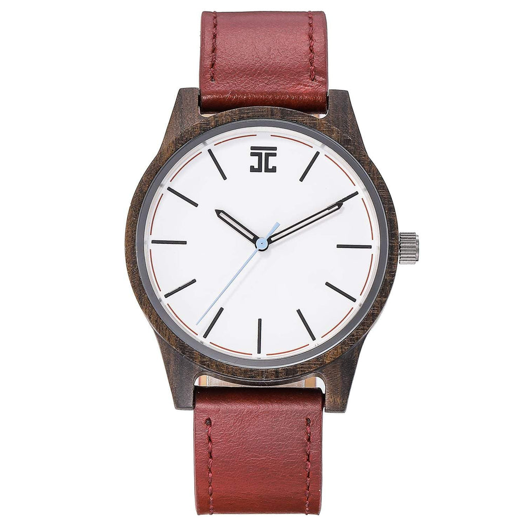 Dark Sandalwood // White Dial (Leather) - Wooden Watches and Sunglasses - Joycoast