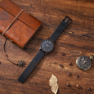 dark sandalwood wooden watch with leather band