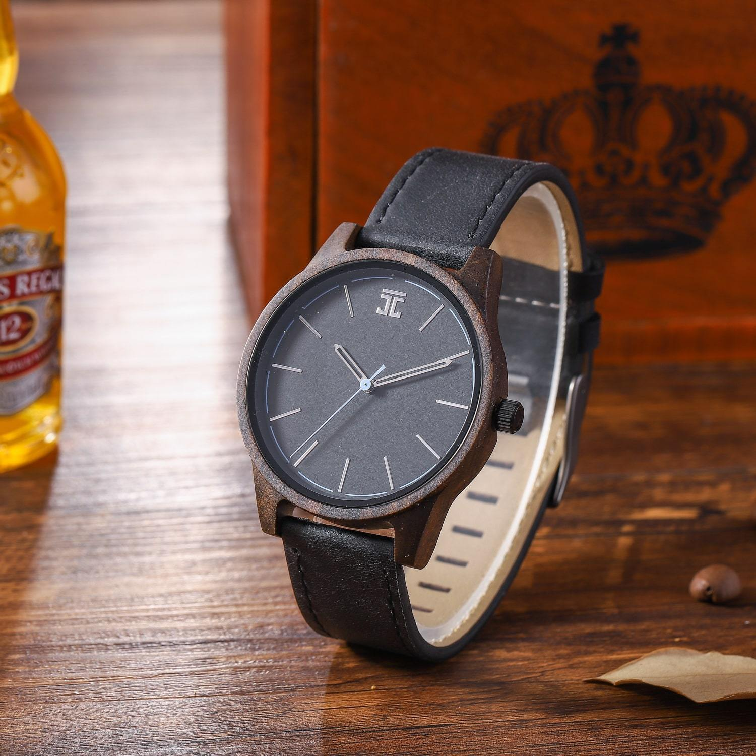 42mm dark sandalwood wooden watch with black face