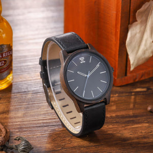 dark sandalwood wood watch with leather band