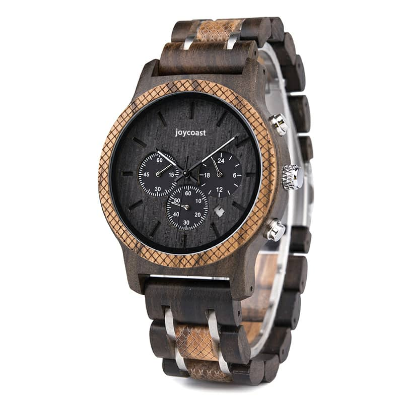 dark sandalwood & zebrawood wooden watch, chronograph
