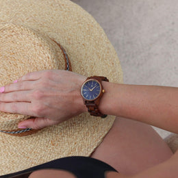 Blue Sapphire | Walnut Wooden Watch - Wooden Watches and Sunglasses - Joycoast