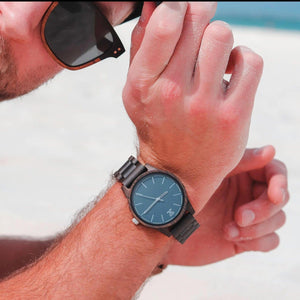 Dark Sandalwood // Blue Face - Wooden Watches and Sunglasses - Joycoast