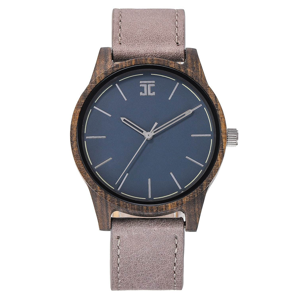 Dark Sandalwood // Blue Face (Leather Strap) - Wooden Watches and Sunglasses - Joycoast