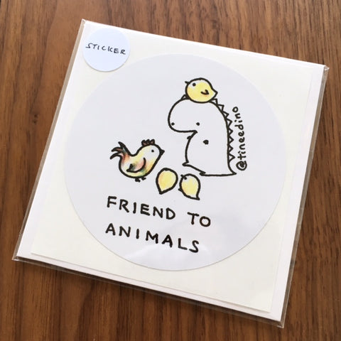 Tinee Dino Friend To Animals Sticker