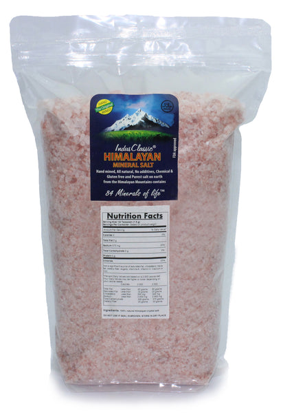 IndusClassic® 10 lbs Authentic Pure Natural Halall Unprocessed Himalayan Edible Pink Cooking Medium Grain Salt 1mm to 3mm