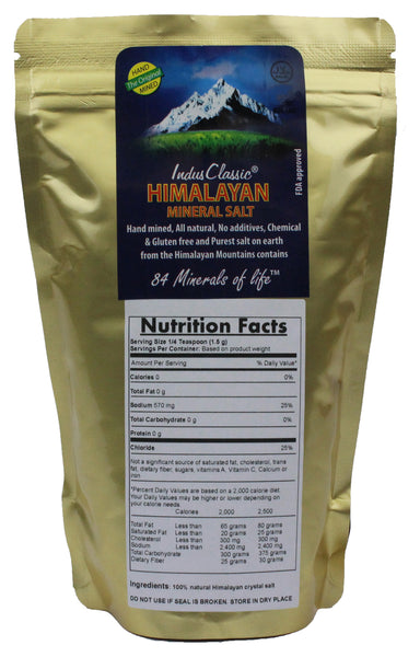 IndusClassic® 1 lbs Authentic Pure Natural Halall Unprocessed Himalayan Edible Pink Cooking Medium Grain Salt 1mm to 3mm