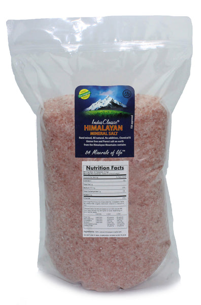IndusClassic® 20 lbs Authentic Pure Natural Halall Unprocessed Himalayan Edible Pink Cooking Medium Grain Salt 1mm to 3mm