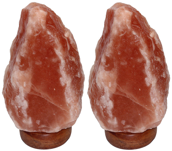 IndusClassic® LN-01 Set Of 2 Natural Himalayan Crystal Rock Salt Lamp Ionizer Air Purifier 2~4 lbs With Dimmable Control