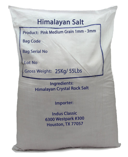 IndusClassic® 55 lbs Authentic Pure Natural Halall Unprocessed Himalayan Edible Pink Cooking Medium Grain Salt 1mm to 3mm