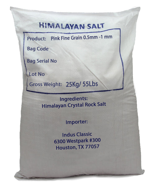 IndusClassic® 55 lbs Authentic Pure Natural Halall Unprocessed Himalayan Edible Pink Cooking Fine Grain Salt ( 0.5mm to 1mm )