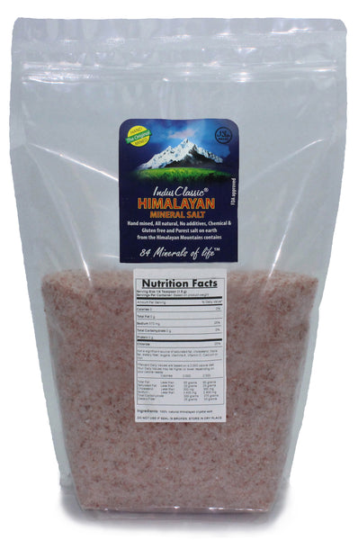 IndusClassic® 5 lbs Authentic Pure Natural Halall Unprocessed Himalayan Edible Pink Cooking Medium Grain Salt 1mm to 3mm