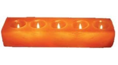 IndusClassic® TLN-11 Himalayan Natural Crystal Salt Rectangular 5 Holes Tea Light Candle Holder