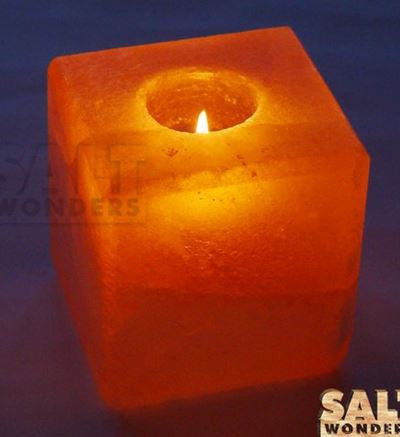 IndusClassic® TLN-16 Himalayan Natural Crystal Salt Cube Tea Light Candle Holder