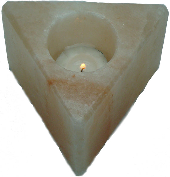 IndusClassic® TLN-15 Himalayan Natural Crystal Salt Triangle Tea Light Candle Holder