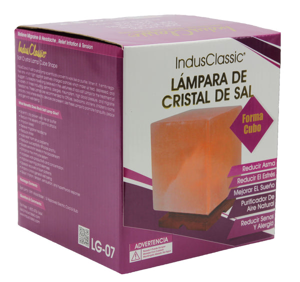 Indusclassic® LG-07 Cube Himalayan Crystal Rock Salt Lamp Ionizer Air Purifier Lamp With Dimmable Control