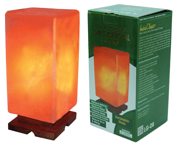 Indusclassic® LG-08 Rectangular Himalayan Crystal Rock Salt Lamp Ionizer Air Purifier With Dimmable control