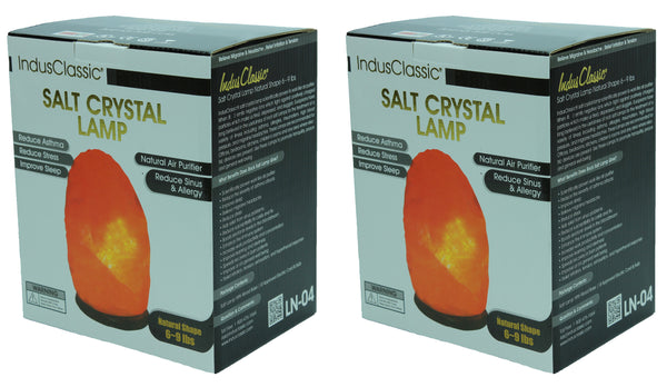 IndusClassic® LN-04 Set Of 2 Natural Himalayan Crystal Rock Salt Lamp Ionizer Air Purifier 6~9 lbs With Dimmable Control