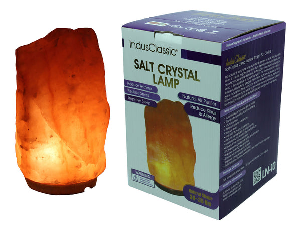 IndusClassic® LN-10 Natural Himalayan Crystal Rock Salt Lamp Ionizer Air Purifier 30~35 lbs With Dimmable Control