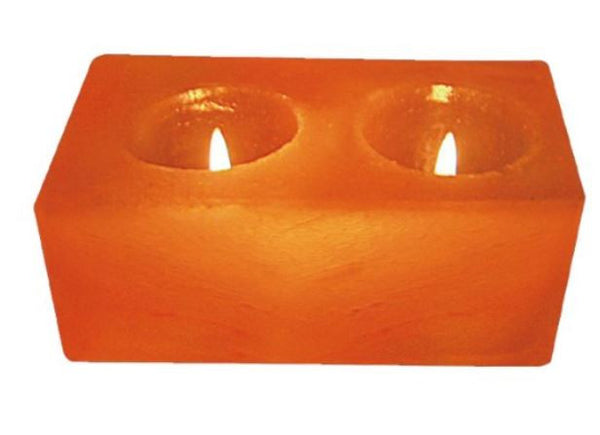 IndusClassic® TLN-08 Himalayan Natural Crystal Salt Rectangular 2 Holes Tea Light Candle Holder