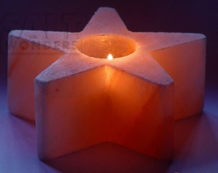 IndusClassic® TLN-14 Himalayan Natural Crystal Salt Star Tea Light Candle Holder
