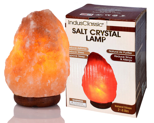 IndusClassic® LN-01 Natural Himalayan Crystal Rock Salt Lamp Ionizer Air Purifier 2~4 lbs With Dimmable Control