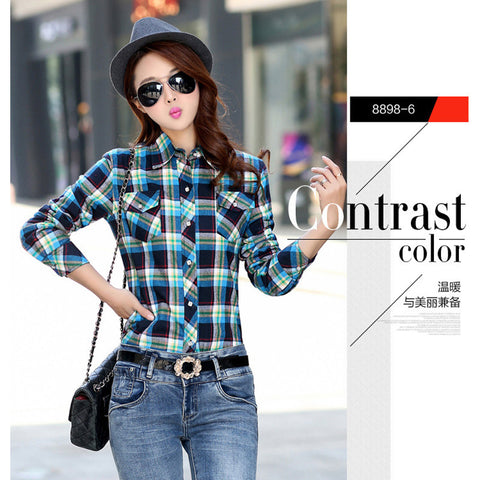 97d9ca9cb72 2016 Velvet Thick Warm Women s Plaid Shirt Female Long Sleeve Tops Plus  Size Winter Check Blouse