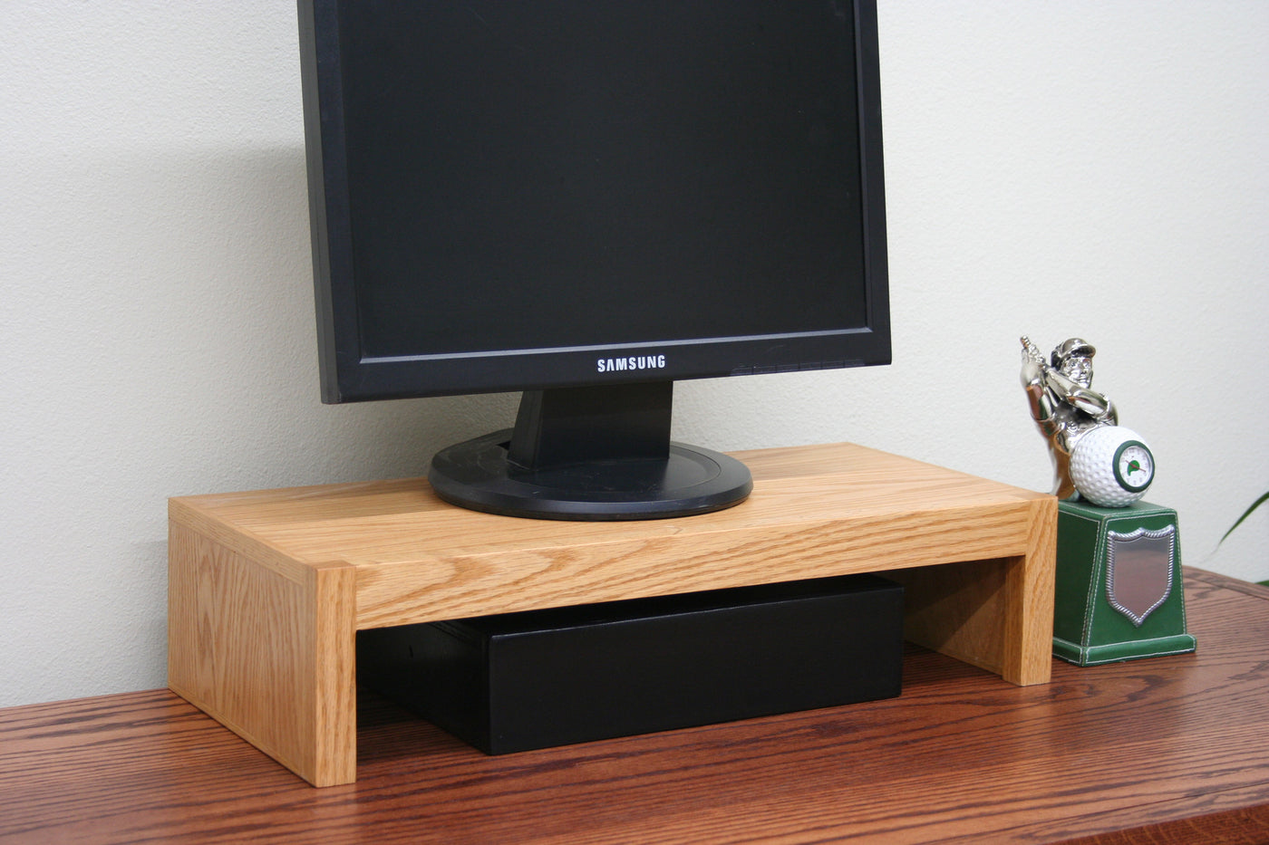 Modern Computer Led Lcd Tv Monitor Riser Stand Oak Wood By Jdi Home