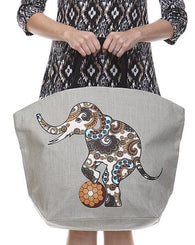 Jute Beach Tote - Elephants (Multiple Designs)