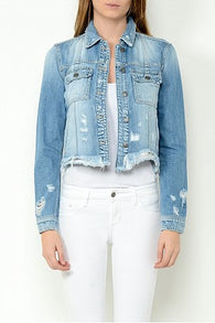 Light Wash Denim Frayed Bottom Fitted Jacket