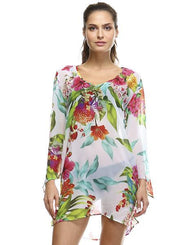 Silk Chiffon Tunic - Flower Power