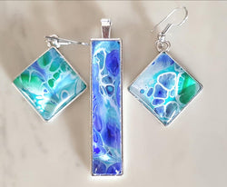 "One of a kind by KazArt Creations .... Pendant and Earrings set  ""TROPICAL SEAS"""