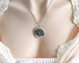 Aromatherapy Jewellery AJ18 Tibetan Silver Locket LARGE FLOWER design
