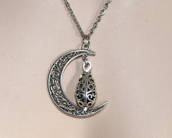 Aromatherapy Jewellery AJ3 CRESCENT MOON WITH LAVA STONE PENDANT NECKLACE