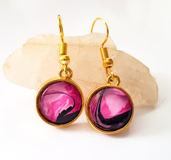 "One of a Kind by KazArt Creations - Gold plate drop earrings ""Pink Panther"""