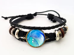 "One of a Kind by KazArt Creations - Leather bracelet ""Blue Silver"""