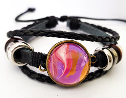 "One of a Kind by KazArt Creations - Leather bracelet ""Pink River"""