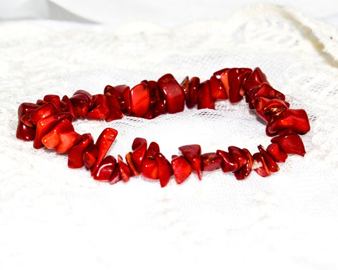 Crystal Chip Bracelet RED CORAL