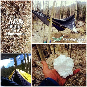 Winter hammock camping