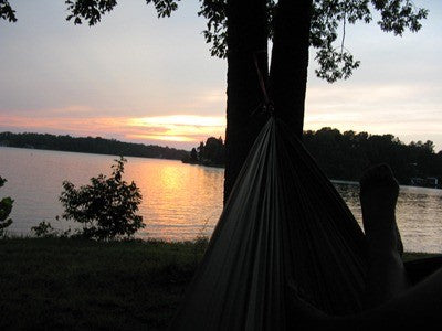 Lake Sunset in a Trek Light hammock