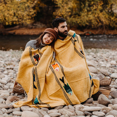Golden Age Blanket Fish Design For Camping Adventure Cozy Yoga Van Life