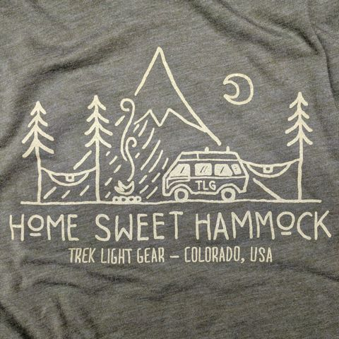 Hammock Camping & Van Life T-Shirt - Artwork By David Rollyn