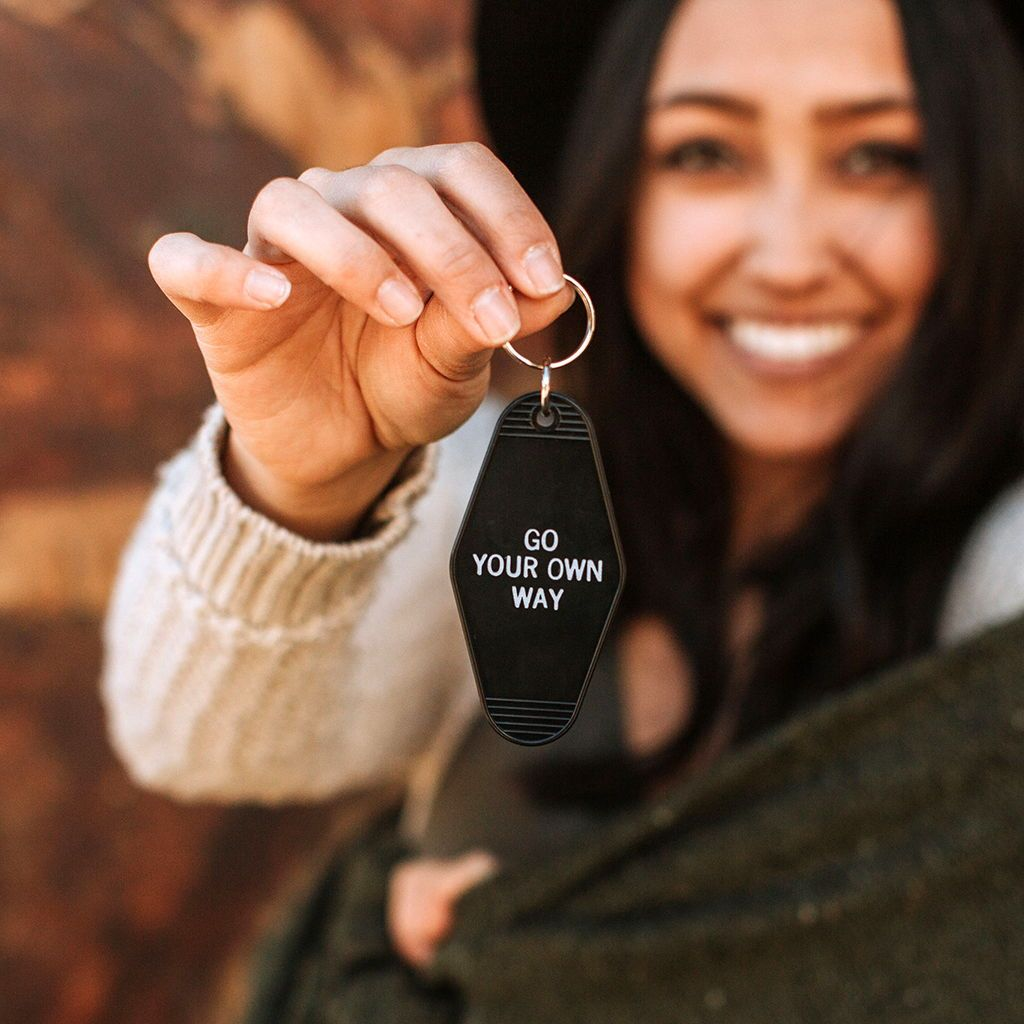 Go Your Own Way - Motel Key Tag Chain - Unique Gift