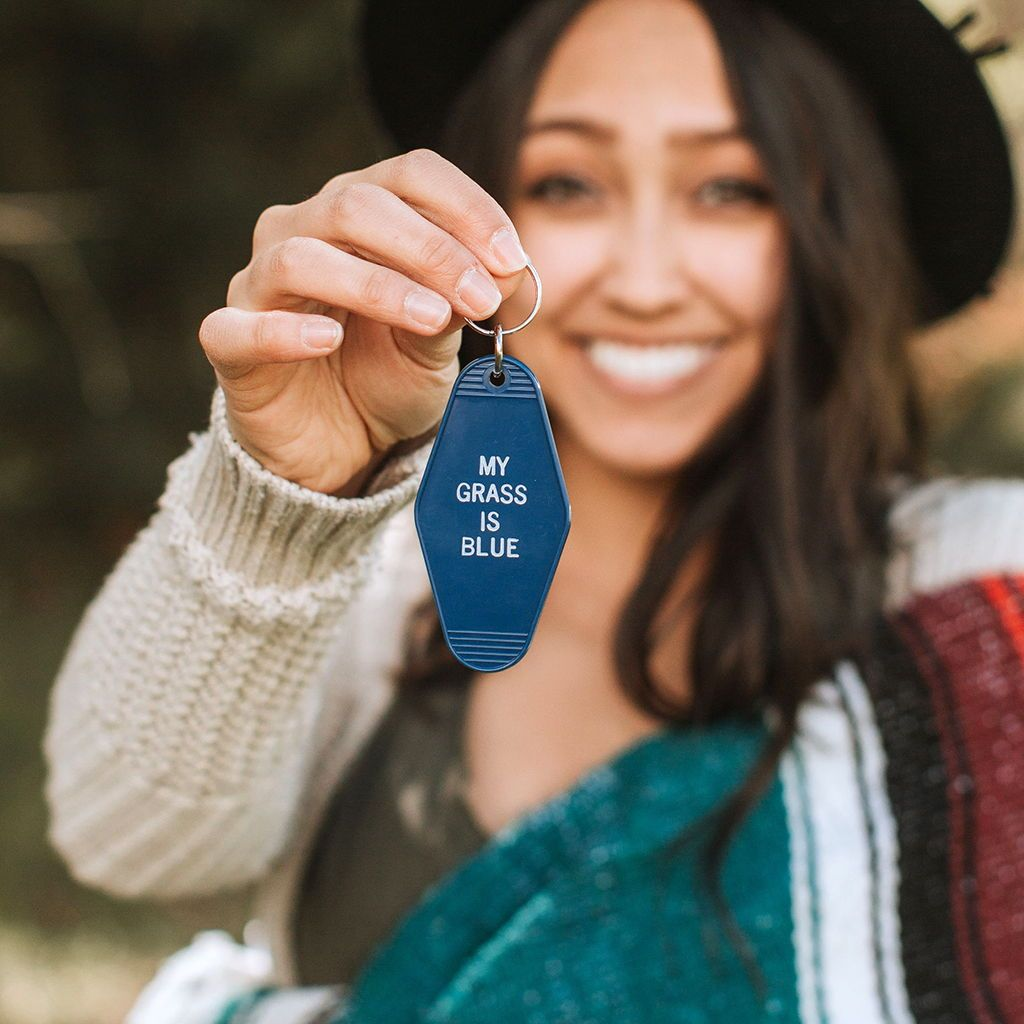 My Grass Is Blue - Motel Key Tag Chain - Unique Bluegrass Gift